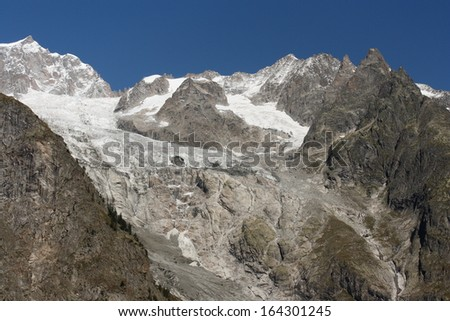peaks and glaciers in Graian Alps - stock photo