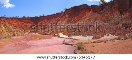 Peaks and the river - Red Tsingy - Antsiranana and Diego Suarez - Madagascar - Panoramique. - stock photo