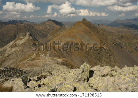 peaks around Port de Vielha, Spain - stock photo