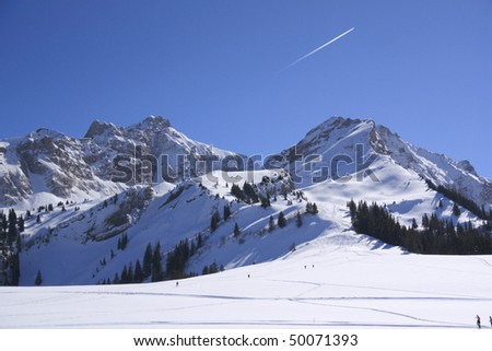 peaks in the French, Swiss border near Geneva - stock photo