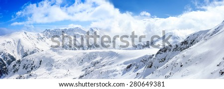 peaks of pine trees covered with snow, wonderful mountain landscape - stock photo