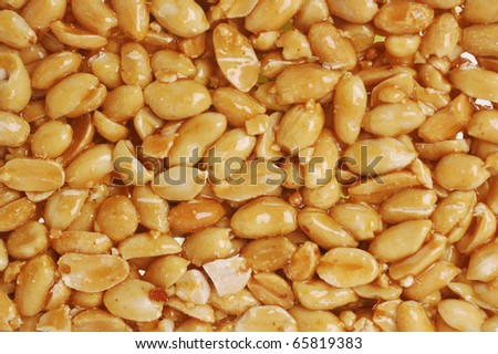 peanut brittle as background close up
