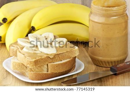 peanut butter and banana sandwich - stock photo