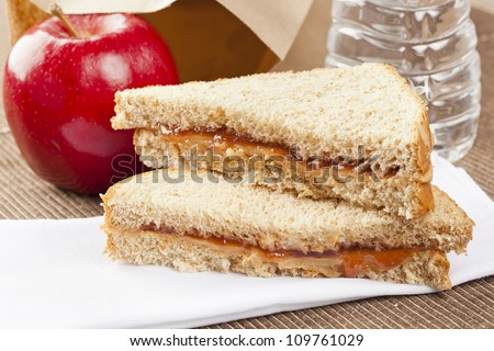Peanut Butter and Jelly Sack Lunch with water and apple - stock photo