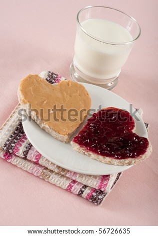 Peanut Butter and Jelly Sandwich on Heart Shaped Pieces of Wholegrain Bread