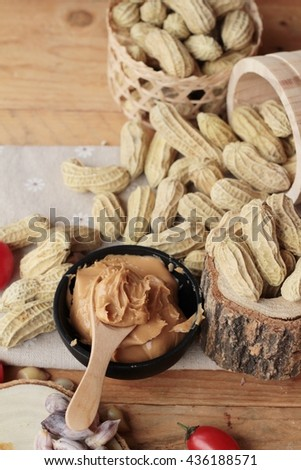 Peanut butter and peanut  - stock photo