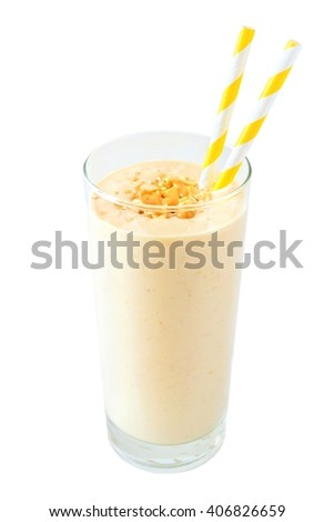 Peanut butter banana oat breakfast smoothie with paper straws isolated on a white background - stock photo