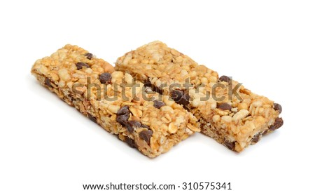 peanut butter chocolate chips on white background  - stock photo