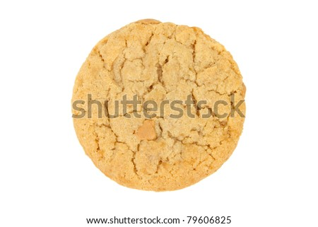 Peanut Butter Cookie Isolated on a White Background - stock photo