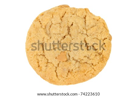 Peanut Butter Cookie Isolated on White Background - stock photo