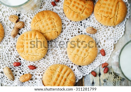peanut butter cookies on a white wood background. the toning. selective focus - stock photo