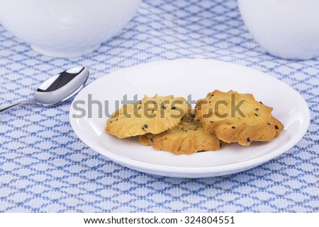 peanut butter cookies on dish - stock photo