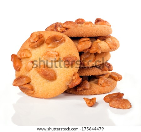 peanut butter cookies over white background - stock photo