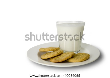 peanut butter cookies with a glass of milk - stock photo