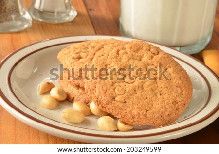 Peanut butter cookies with butterscotch chips and a glass of milk ...