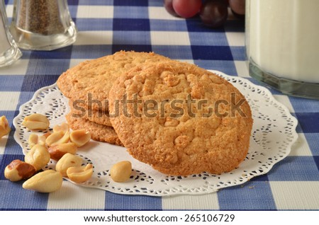 Peanut butter cookies with butterscotch chips and milk - stock photo
