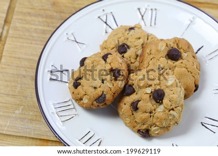 Peanut Butter Cookies with Chocolate Chips and Oatmeal - stock photo