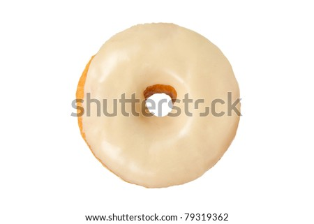 Peanut Butter Donut Isolated on a White Background - stock photo