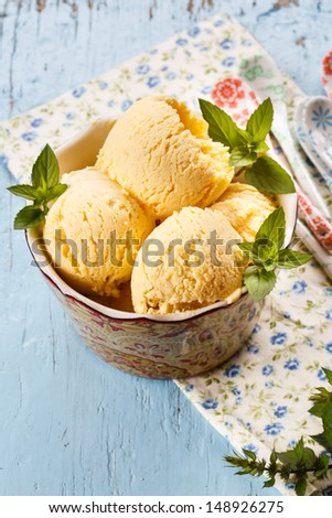Peanut Butter Ice Cream with mint - stock photo