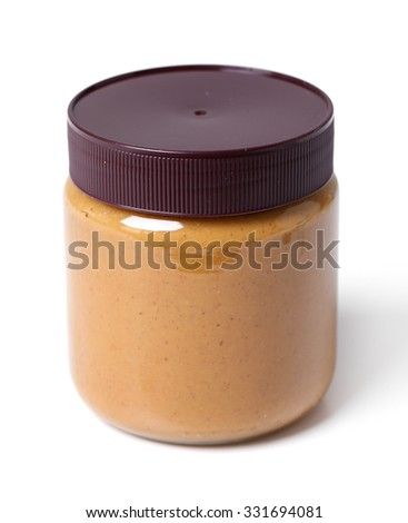Peanut butter in a jar - stock photo