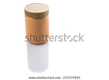 Peanut butter in a jar over white background