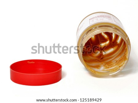 Peanut butter jar and lid - stock photo