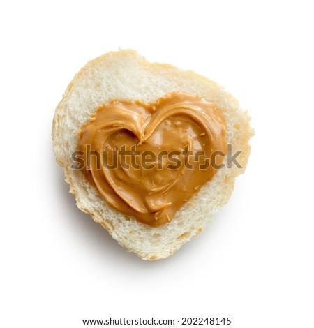 Peanut Butter On White Bread - stock photo