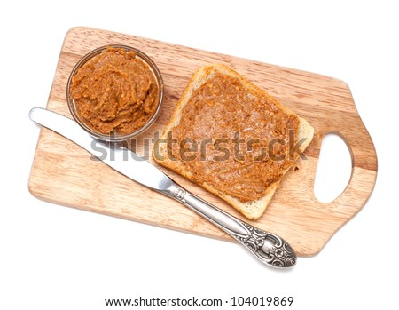 peanut butter sandwich isolated on white - stock photo