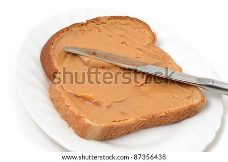 peanut butter sandwich on plate - stock photo