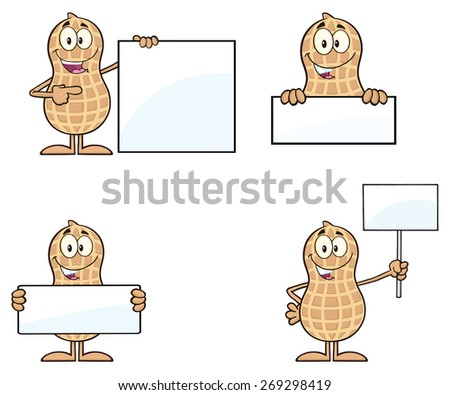 Peanut Cartoon Character 5. Raster Collection Set Isolated On White - stock photo