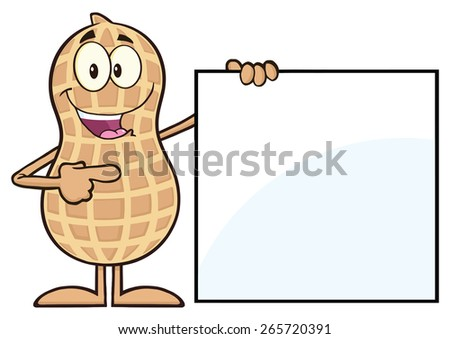 Peanut Cartoon Character Showing A Blank Sign. Raster Illustration Isolated On White - stock photo