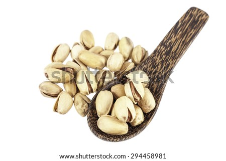 Peanut in wood spoon on white background - stock photo