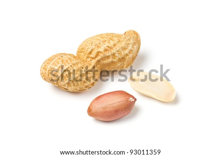 Peanut isolated on white - stock photo