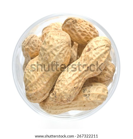 peanut isolated on white background, Top view food - stock photo