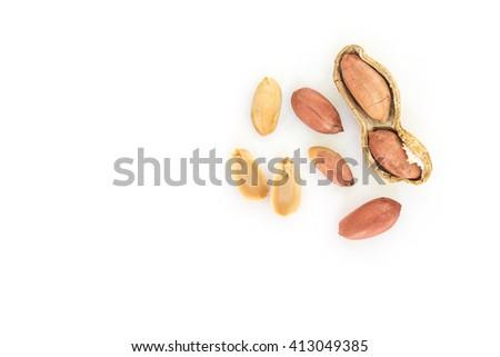 peanut pile top view on white background - stock photo