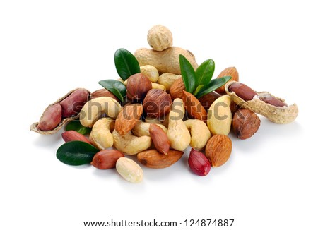 Peanuts, cashews,  almonds, walnuts and hazelnuts on a white background