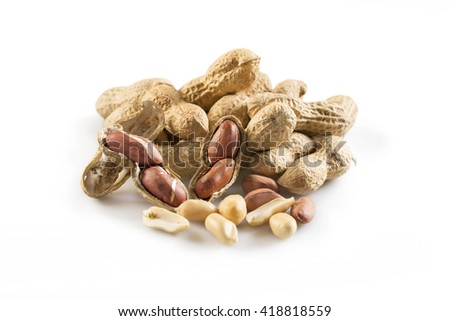 Peanuts composition isolated on white background