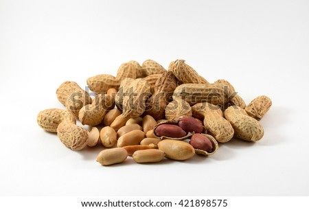 peanuts in closeup on white background