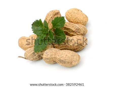 Peanuts in shell border isoalted on white, clipping path included
