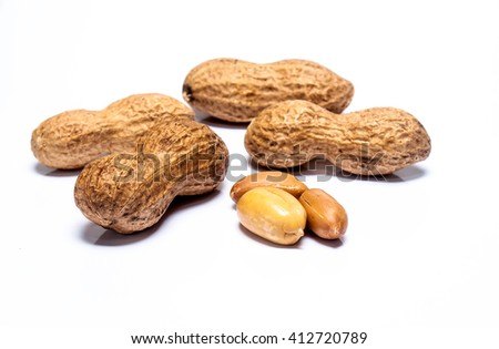 Peanuts Isolated on a white background. selective focus with shallow depth of field