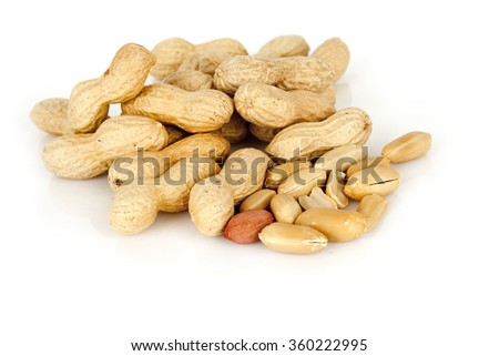 peanuts on a white background - healthy snack
