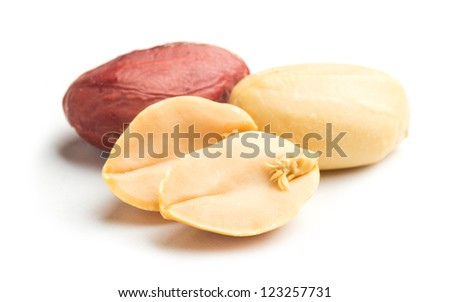 peanuts on white - stock photo