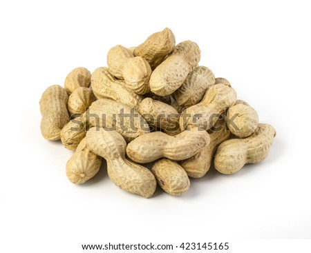 Peanuts on white ground isolated with clipping path