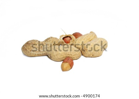 Peanuts over the white background. Still life