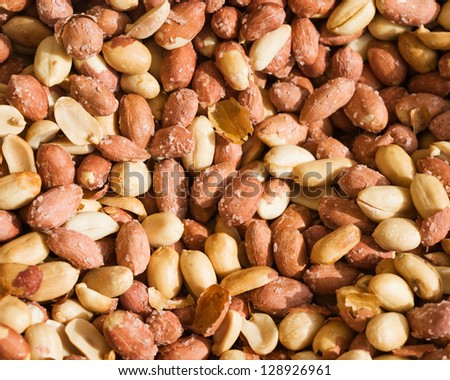 Peanuts roasted with salt at farmers market in Turkey - stock photo