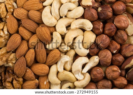 Peanuts, walnuts, almonds, hazelnuts, brazil and cashews nuts mixed together - stock photo