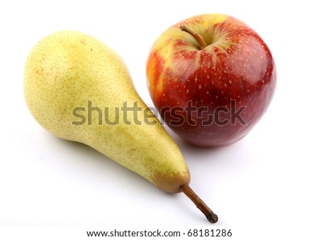 Pear and apple on white background