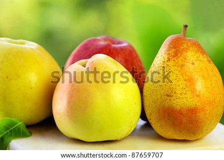 Pear and apples.
