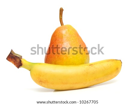 pear and banana on white. Isolation