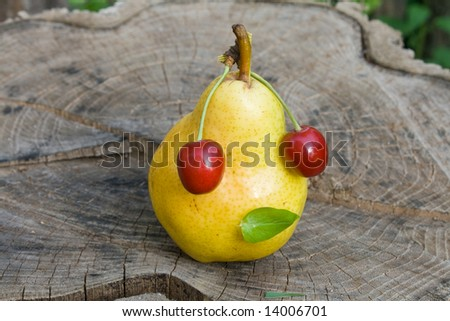 pear and  cherry - stock photo